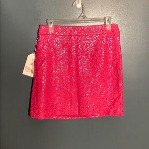 NWT Loft pink sequin skirt